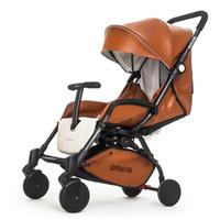 qualitätswagen baby großhandel-Marke baby AULON leder kinderwagen 3 farben hohe qualität licht großen kinderwagen 175 grad wagen