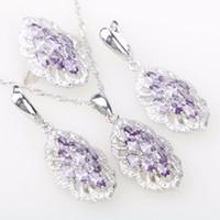 Wholesale Purple Costume Jewelry - Silver 925 Costume Jewelry Sets For Women Wedding Party Purple Zircon Necklace Pendant Earrings Rings the Nereids Free Box