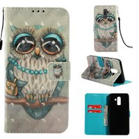 Wholesale 3d phone card for sale - 3D Owl Leather Wallet Case For Galaxy A8 A6 J8 J2 J6 J4 J3 J7 Duo Unicorn Flower Dreamcatcher Skull Butterfly Fashion Phone Flip Cover