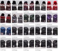 futbol takımı beanie toptan satış-2019 Yeni Varış Beanies Şapkalar Amerikan Futbolu 32 ekipleri Kasketleri Spor kış yan hat örgü kapaklar Beanie Örme Şapkalar bırak shippping B08