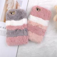 Wholesale rabbit phone case cover for sale – best Luxury Warm Rabbit Fur Plush Phone Case For Iphone X XR XS MAX Soft Back Cover For Iphone Plus