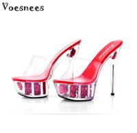 Wholesale high heels platform rose - Shoe Woman Platform Sandals Summer Multicolor Rose Flower Slides Waterproof 15cm Nightclub Sexy High-heeled Shoe Plus-size 34-43