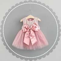 Wholesale zipper buds - kids clothing summer girl kids short sleeve lace back bow decoration dress kids short sleeve zipper elegant dress girl dress 11-color
