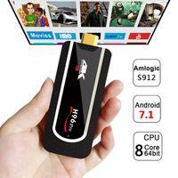 Wholesale mini tv dongle - H96 Pro H2 Mini PC Amlogic S912 Octa-Core Android 7.1 TV Box 2G 8G Support 4K H265 Mini Android HDMI H96 TV Stick Full HD Smart TV Dongle