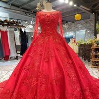 281d6557769c Venta al por mayor de Vestido De Compromiso Largo De Encaje Rojo ...