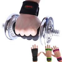 luvas de apoio dedo venda por atacado-Ginásio Halterofilismo Luvas Dumbbell Aptidão Não-Deslizamento Respirável Meio Dedo Desgaste-Resistente Esportes Treinamento Longo Envoltório Do Pulso Apoio Wrist Wrap