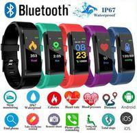 presión arterial inteligente iphone al por mayor-ID 115 Plus Smart Fitness Bracelet Tracker 115 plus Pantalla colorida Monitor de ritmo cardíaco de presión arterial Reloj de mujer para iphone xiaomi