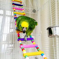 papağan oyuncakları toptan satış-Renkli Kuş Merdiven Parrot Cockatiel Conure Parakeet Küçük Amerika papağanı 80cm için kuş oyuncaklar Kafes Aksesuarları Salıncak