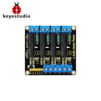 arduino için 5v röle modülü toptan satış-Keyestudio 5 V 2A 4- Kanal Katı Hal Röle Modülü Yüksek Seviye Tetik Siyah Arduino Uno MEGA2560 MEGA1280 ARM DSP PIC için