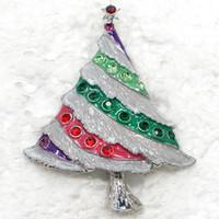 rhinestone jewelry christmas tree brooch NZ - 12pcs lot Wholesale Crystal Rhinestone Enameling Christmas tree Pin Brooch Christmas gifts Fashion costume jewelry gift C421