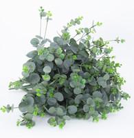 поддельный цветок лист оптовых-Имитация эвкалипта украшения дома поддельные цветок Европейский букет моделирования листьев растений