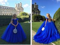 schöne royal blaue brautjungfer kleider großhandel-2019 Prinzessin Schöne Royal Blue Blumenmädchen Kleid Geburtstag Party Hochzeit Party Urlaub Brautjungfer Royal Blue Tulle Blumenmädchen Kleid
