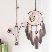 yatak odalı dekorlar toptan satış-El yapımı Baykuş Kolye Ile Çift Halka Tüyler Dreamcatcher Rüzgar Chime Bar Düğün Ev Duvar Asılı Dekor Hediye Regalo