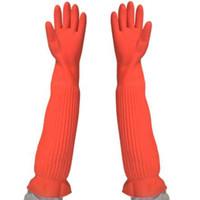ingrosso guanti di gomma lunghi di pulizia-Allungare ultra lunghi 56 centimetri di gomma guanti rosso cucina lavare i piatti auto pulizia impermeabile guanto domestico
