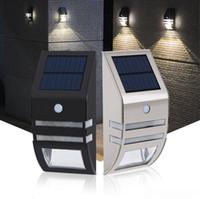 Wholesale wireless security sensors online - Solar Lights Motion Sensor Wall Light Outdoor Weatherproof Wireless Security Lighting Nightlight for Driveway Garden stainless steel