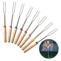 Wholesale fire barbecue - 8pcs set Roasting Sticks Extendable Forks 32 Inch Telescoping Skewers for Smores Hot Dog Fire Pit Camping Cookware CCA8586 100set