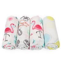 rosa baumwoll-babydecke großhandel-PINK SWAN 100% Baumwolle Flamingo Rose Früchte Drucken Musselin Babydecken Bettwäsche Infant Swaddle Handtuch für Neugeborene Swaddle Decke 0601774
