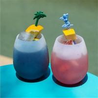 eis weingläser großhandel-Bruchsicher Gummi Wein Gläser Eisbecher für drinnen im Freien unzerbrechlich Stemless Tassen ungiftig zusammenklappbar Drink perfekt Geschenk