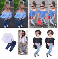 Wholesale fashion baby clothes - 2018 New Fashion Baby Girls Striped Lace Off Shoulder Denim Pants Outfits INS Kids Girls Clothing Styles