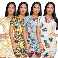 Wholesale Mid Wholesale Bodycon Dresses - New Summer Dresses Women Clothes Classic Retro Style Print Dress Round Neck Short Sleeve Mid Length Party Dress Bodycon Dresses