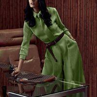 ingrosso vestito elegante delle donne di modo si è regolato-18ss Top Fashion Design elegante da donna Plus Size 3XL 2 pezzi Pantaloni Set Blouse Pantaloni larghi Colore solido Green Twin Set con Tie Suit