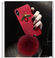housse d'hiver iphone achat en gros de-Luxe Fox Laine Bling Diamant Strass Téléphone Cas Pour iphone Xr xs max X 8 7 6 s Plus Boule De Fourrure Hiver Chaud Couverture