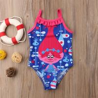 biquini azul dos miúdos venda por atacado-2018 New Bonito Trolls Dos Desenhos Animados One-Piece Bikini Kid Baby Girl Strap Swimwear Swimsuit Criança Verão Azul Maiô Biquíni
