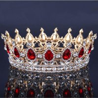Wholesale hair crowns for brides - Vintage Queen King Tiara Crown jewelry headdress for women bride diadem hair accessories