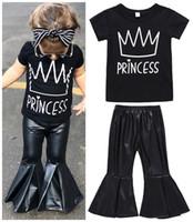 Wholesale childrens harem pants - 2018 Girls Baby Childrens Clothing Set Crown Black Tshirts PU Harem Pants 2Pcs Set Fashion Short Sleeve Summer Tops Boutique Clothes Suits
