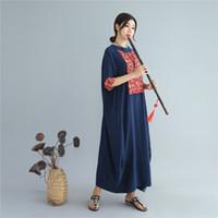 vestidos de verão casual china venda por atacado-Verão outono tamanho grande de linho de algodão das mulheres vestido casual china estilo nacional dress estilo chinês lazer longo solto vestido robe