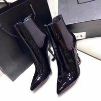 büyük bayan yüksek topuklu ayakkabılar toptan satış-Klasik Kadın Patent Deri Kısa Çizmeler Bayanlar Heybe Yüksek Topuklu Pompalar Seksi Siyah Ayak Bileği Çizmeler Elbise Tek Ayakkabı Büyük Boy 34-44