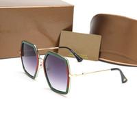 Wholesale men awesome - Newest 0106 bee logo sunglasses women brand oversized frame polygon fashion show style eyewear lady awesome sun glasses 2018.