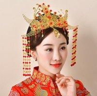 ingrosso trasporto libero degli antiquari cinesi-Copricapo da sposa, antico cinese, corona di Phoenix, gioielli da sposa, spettacolo fatto a mano, corona di Hau, spedizione gratuita.