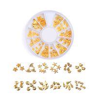 круг треугольника оптовых-Rose Gold Rivet 3D Nail Art Decoration Grey Gold Circle Star Round Square Triangle Mixed Accessories Nail Crystal Rhinestones Se