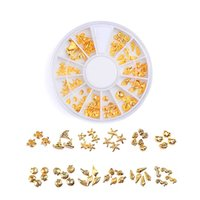ingrosso cerchio triangolo quadrato-Rose Gold Rivet 3D Nail Art Decorazione Oro grigio Circle Star Round Square Triangle Accessori misti Nail Crystal Rhinestones Se