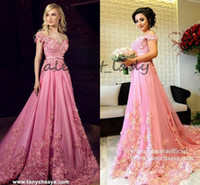 Wholesale Red Full One Piece Dress - 2018 Pink 3D Floral Applique Prom Party Dresses Modest Tony Chaaya Off Shoulder Dubai Arabic Kaftan Full length Evening Princess Dress