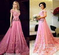 prinzessin abschlussballkleid schultergurte großhandel-Pink 3D Floral Applique Prom Party Kleider Modest Tony Chaaya Schulterfrei Dubai Arabisch Kaftan Ganzkörperansicht Abend Prinzessin Kleid