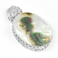Wholesale halloween cameos - Luckyshine Jewelry Top Quality 5pcs Lot Hot Sale Oval Carved Cameo Shell Gemstone 925 Silver Pendant American Weddings Jewelry Gift