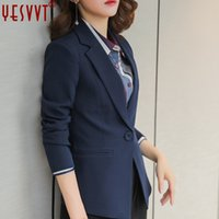 blazers para mulheres cor azul venda por atacado-Yesvvt 2017 quatro cores único botão mulheres blazers preto branco rosa e azul senhoras blazers completa manga terno blazer jaqueta mulheres