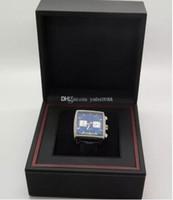 correas de reloj azul al por mayor-2017 calibre de calidad superior 12 Steve McQueen Walter White Dial azul Cuarzo Relojes deportivos Banda de cuero Reloj de pulsera de los hombres caja original