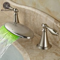 Wholesale Changing Basin Taps - Luxury LED 3 Color Changing Bathroom Basin Faucet Brushed Nickel Waterfall Spout Lavatory Sink Mixer Taps