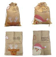 Wholesale nude canvas prints for sale - Christmas canvas bag Santa Xmas bag Cotton and linen drawstring bags Christmas gift bags embroidery bags Christmas Decoration MMA343