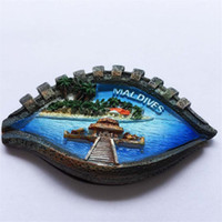 nevera de diseño al por mayor-Nuevo diseño en forma de ojo de Maldivas imán de frigorífico viajes turísticos recuerdos 3D isla paisaje refrigerador pegatinas magnéticas