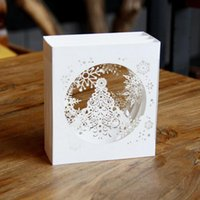 Wholesale Laser Cut Boxes Designs - (10 pieces lot)Laser Cut Wedding Party Invitations 3D Cubic Snowflake Box Design Pop UP Card Greeting Cards for Christmas Eve
