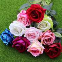 Wholesale real touch flowers roses - 11pcs lot Decor Rose Artificial Flowers Silk Flowers Floral Latex Real Touch Rose Wedding Bouquet Home Party Design Flowers