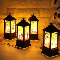 ingrosso illuminazione halloween d'epoca up-20PCS Halloween Light-up Toy Lanterna a LED vintage Castello di zucca Fantasma Lampada a mano Appeso Decorazione per feste