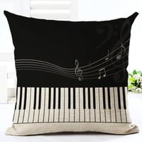 Wholesale music pillow cases - New Design Music Series Note Printed Cotton Linen Decorative Pillow Case Seat 45*45cm Pillowcase Drop Shipping