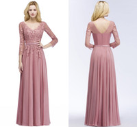 Wholesale tulle blush prom dresses resale online - Cheap On Sale Blush Pink A Line Prom Dresses Long Sleeves V Neck Lace Applique V Back Evening Gowns Party Dresses US2 US CPS910