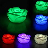 nachtlichtfarben großhandel-LED Nachtlicht 7 Farben Changin Romantic Rose Flower Nachtlicht Batteriebetriebene LED-Leuchten Interior Design Valentine Day Flammenlose Kerzen