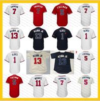 Wholesale youth baseball jerseys - 13 Ronald Acuna Jr. 1 Ozzie Albies 7 Swanson Freddie Freeman Ender Inciarte Chipper Jones Hank Aaron sanders men youth women baseball Jersey